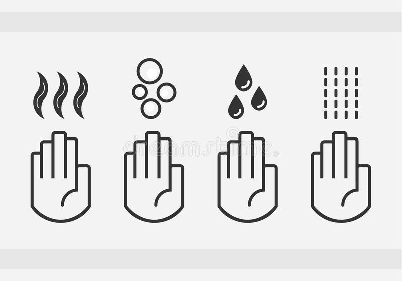 Black isolated washing hands with water drops, soap, and blow dryer air sign icons set royalty free illustration