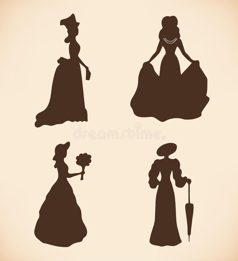 Download Black Isolated Women Silhouettes  Vintage Icons Co Stock Vector - Illustration: 31455215