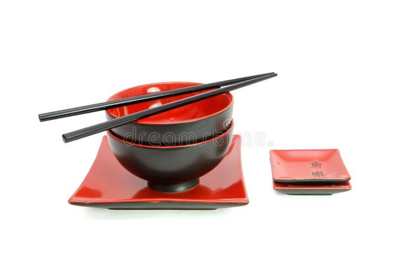 black isolerad set tabell för orientalisk red arkivfoto