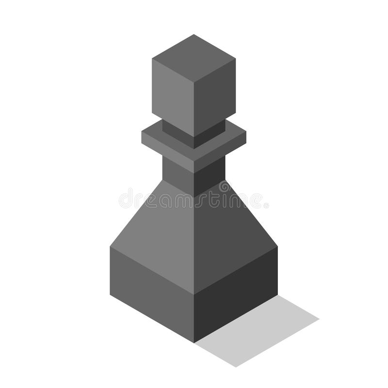 Black isometric pawn isolated vector illustration