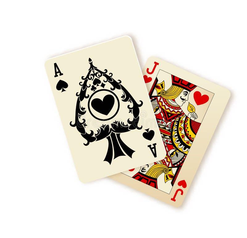 Black Jack-speelkaartencombinatie vector illustratie