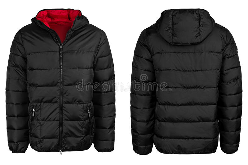 Black jacket with a hood royalty free stock images