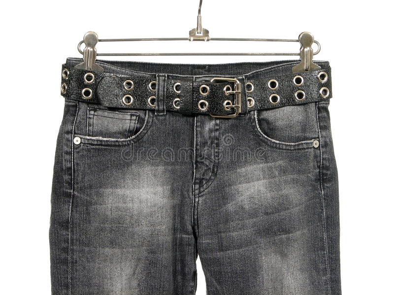 Black jeans with leather belt royalty free stock image