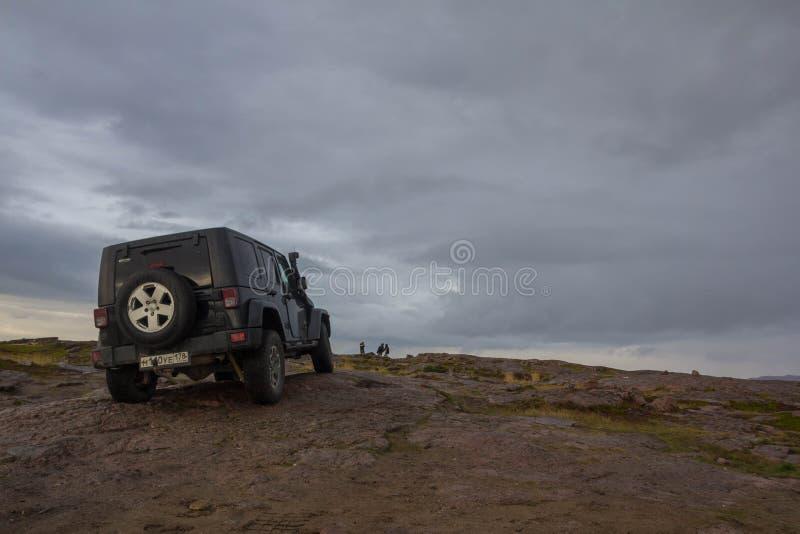 Black Jeep Wrangler Sahara royalty free stock photo