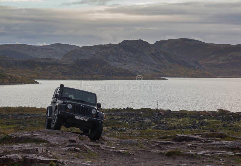 Black Jeep Wrangler Sahara royalty free stock photos