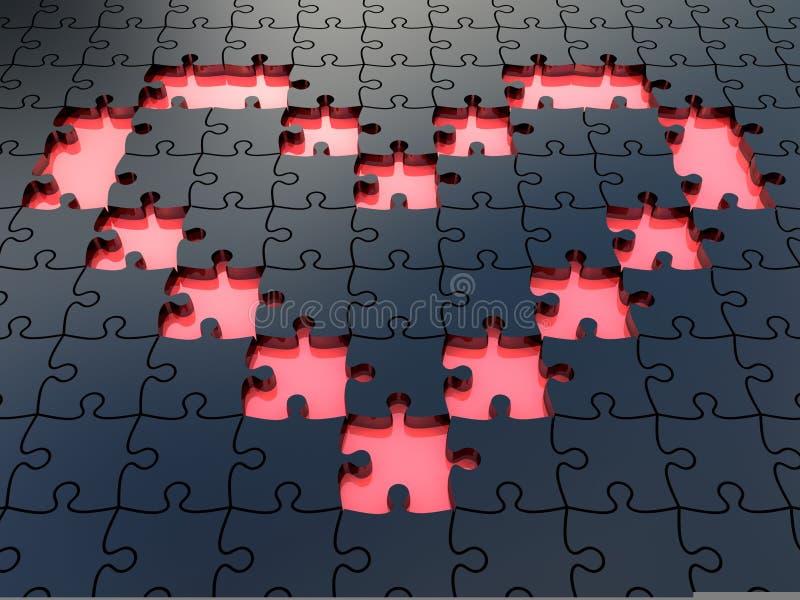 Black Jigsaw Heart Puzzles Royalty Free Stock Photos