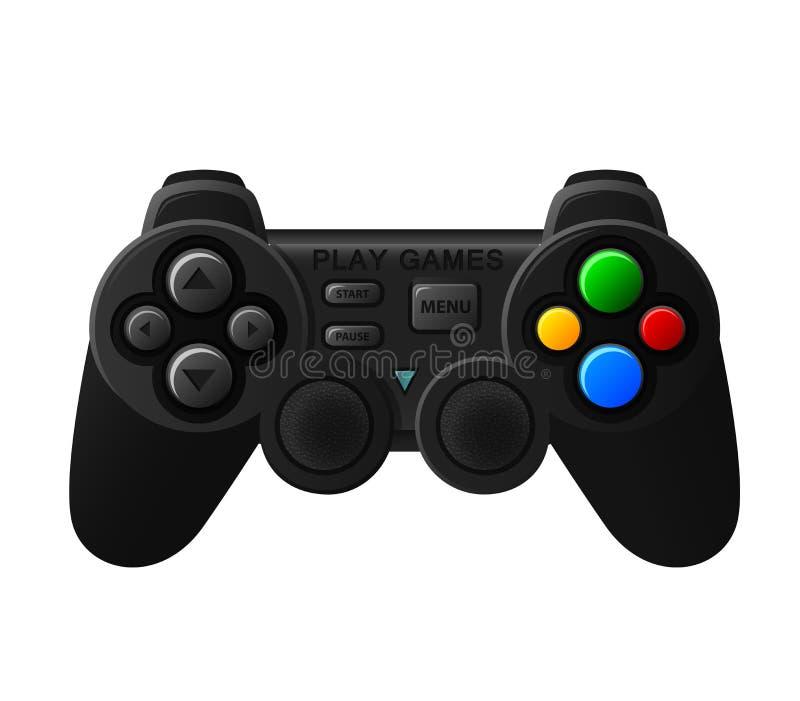 Black joystick with diferent buttons. Vector Illustration Of Black joystick with diferent buttons stock illustration