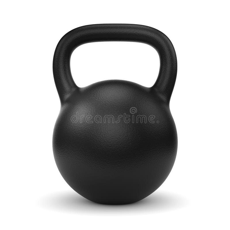 Black kettle bell. Black metal gym weight kettle bell isolated on white background royalty free stock photos