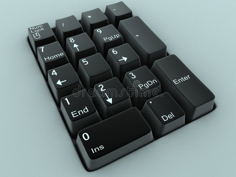 Black keyboard. With numbers and shortcuts - 3d illustration stock illustration