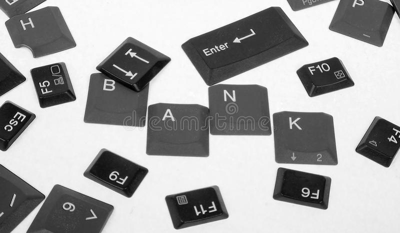 Black keyboard buttons- world BANK. On white background stock photography