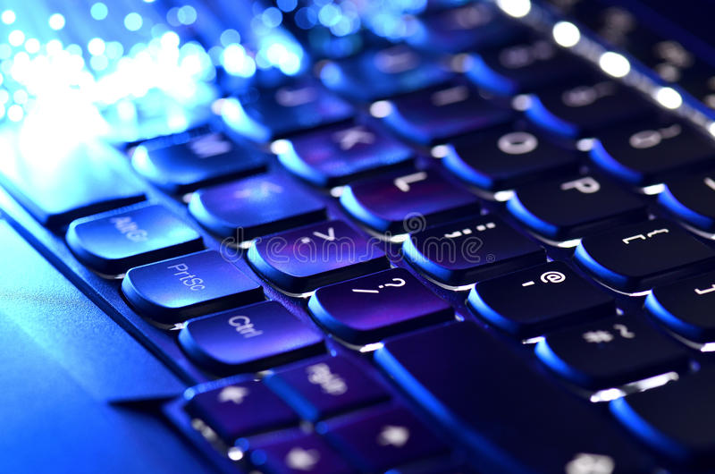 Black Keyboard And Fiber Optics royalty free stock image
