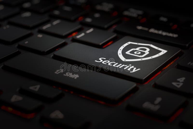 Keyboard whit key security. Black Keyboard with key security in key enter, backlight keyboard stock photos