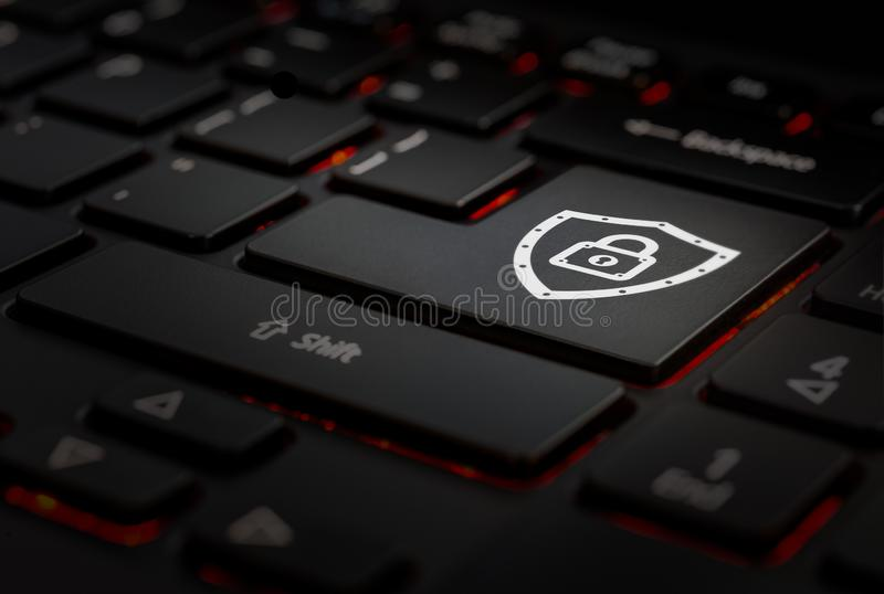 Keyboard whit key security. Black Keyboard with key security in key enter, backlight keyboard stock photography