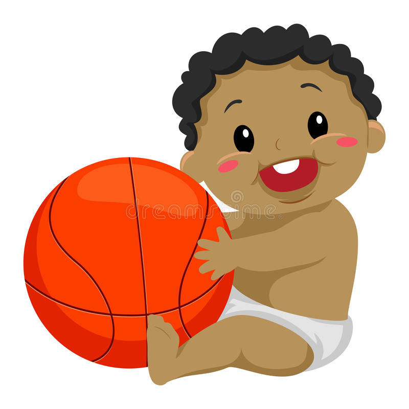 Black Kid Playing the Ball. Vector Illustration of a Black Kid Playing the Ball royalty free illustration