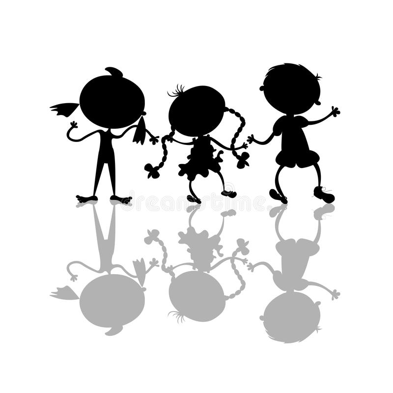 Download Black kids silhouettes stock vector. Image of active - 29315849