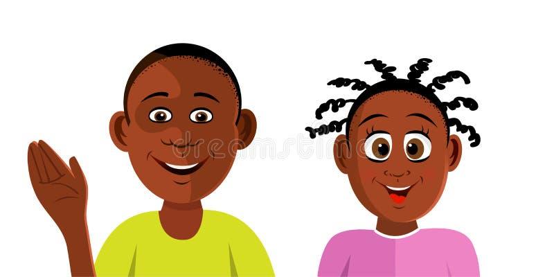 Black kids smiling vector illustration