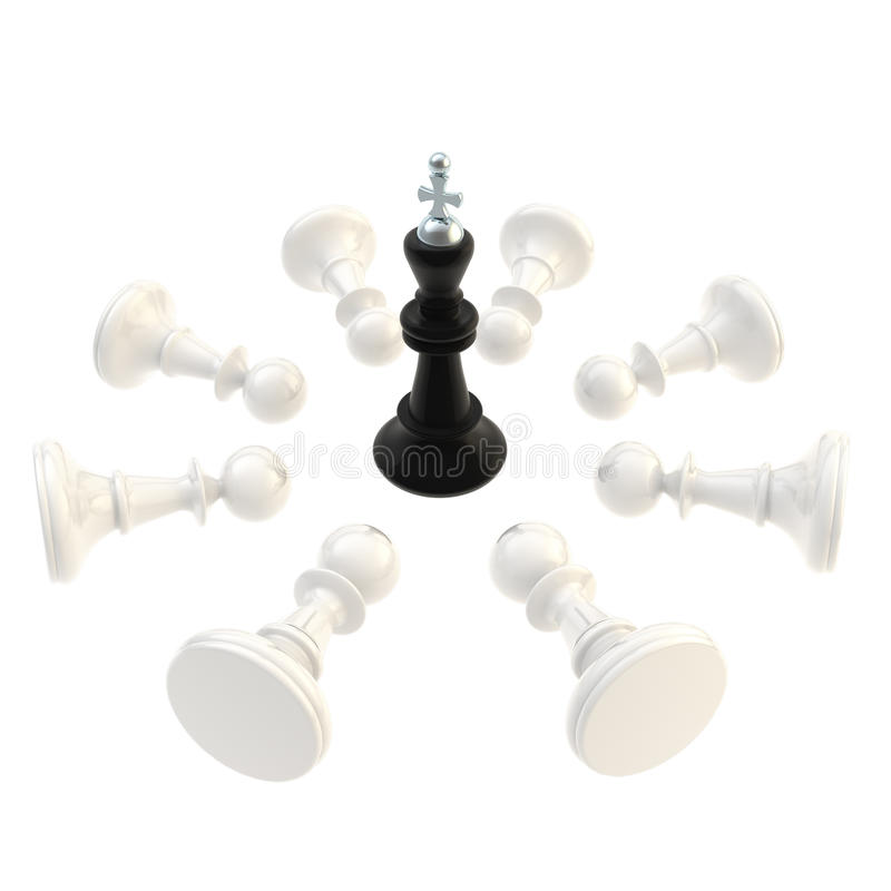 Download Black King Surrounded With Pawns Isolated Stock Illustration - Illustration: 28036796