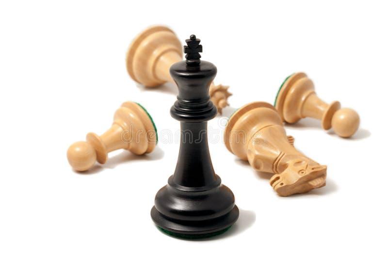 Black king won the game royalty free stock photo