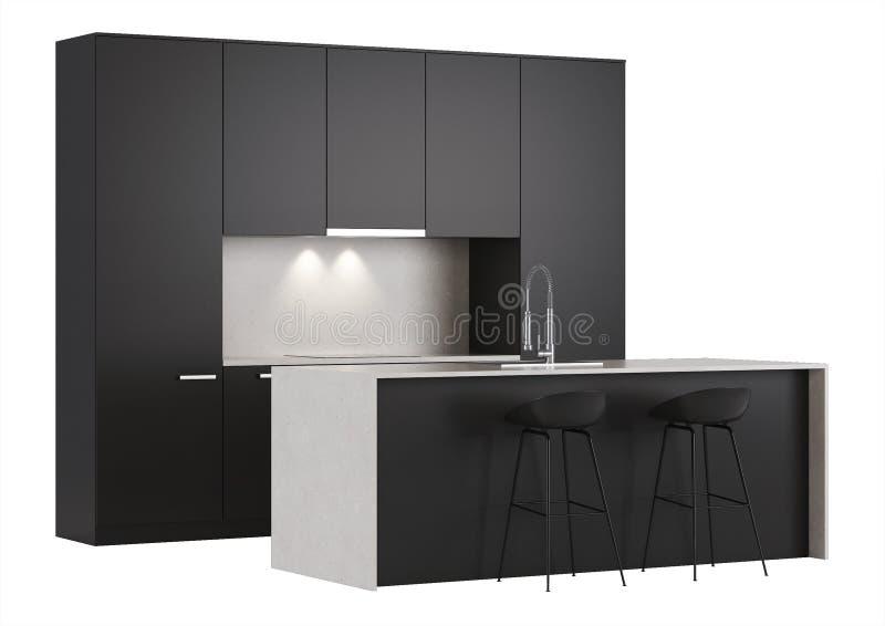black kitchen on a white background stock illustration