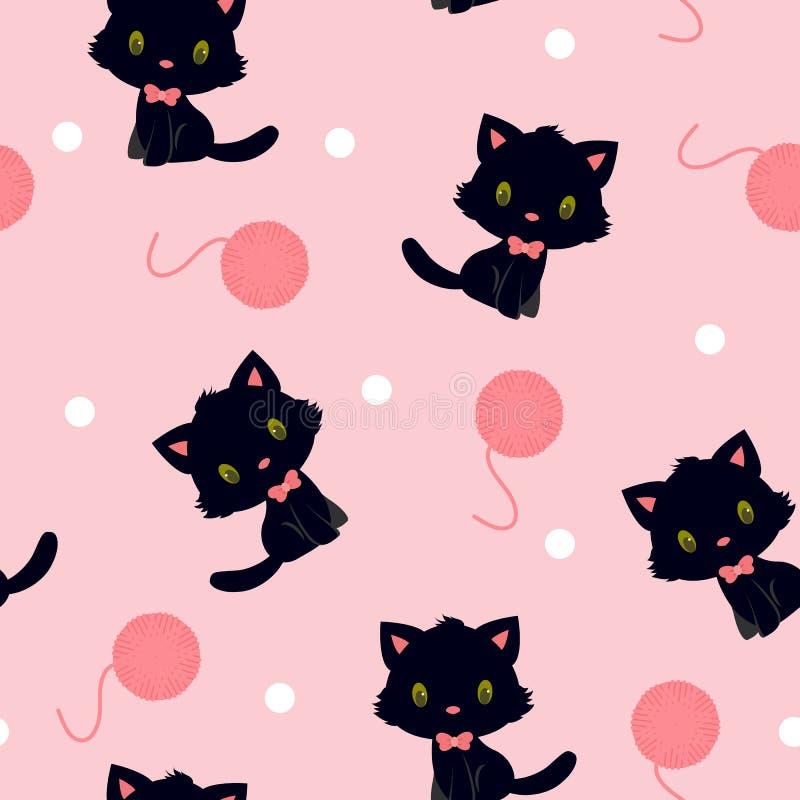 Black kitten with knitting yarn seamless pattern stock illustration