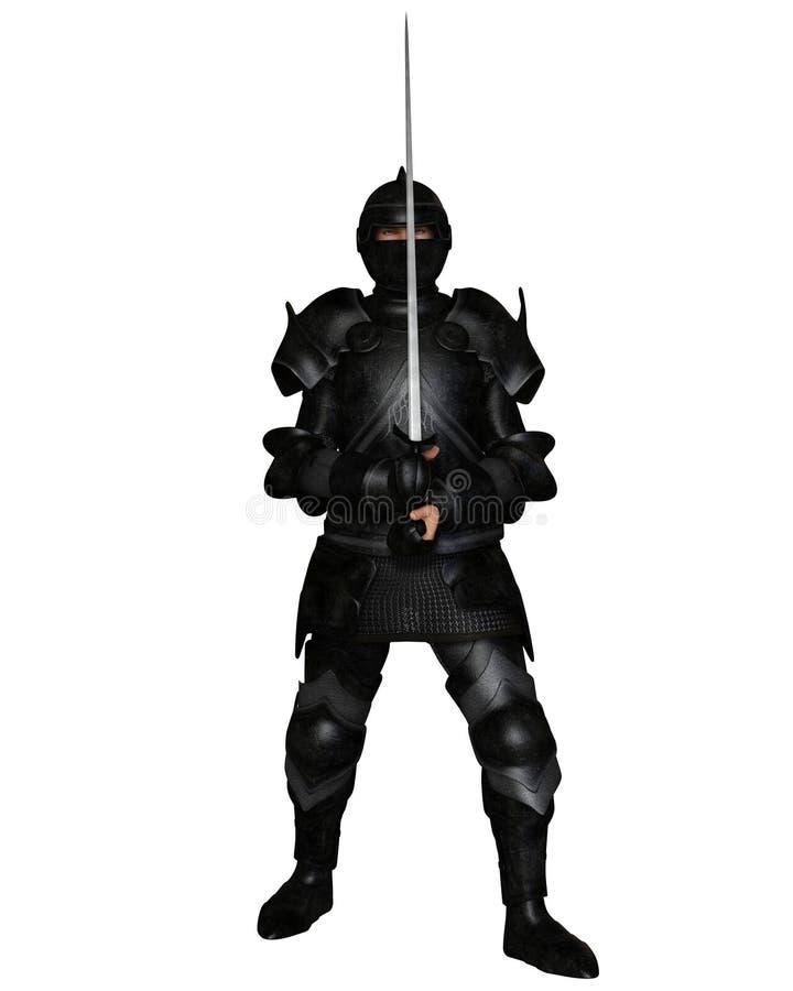 Black Knight in Medieval Armour. Fantasy illustration of a black knight in Medieval armour holding a sword, 3d digitally rendered illustration royalty free illustration