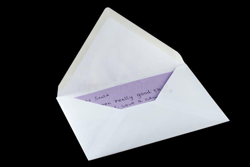 black kuvertet isolerade bokstaven santa till royaltyfria foton