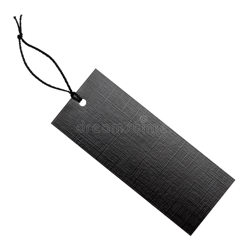 Black Label With String. Royalty Free Stock Photos