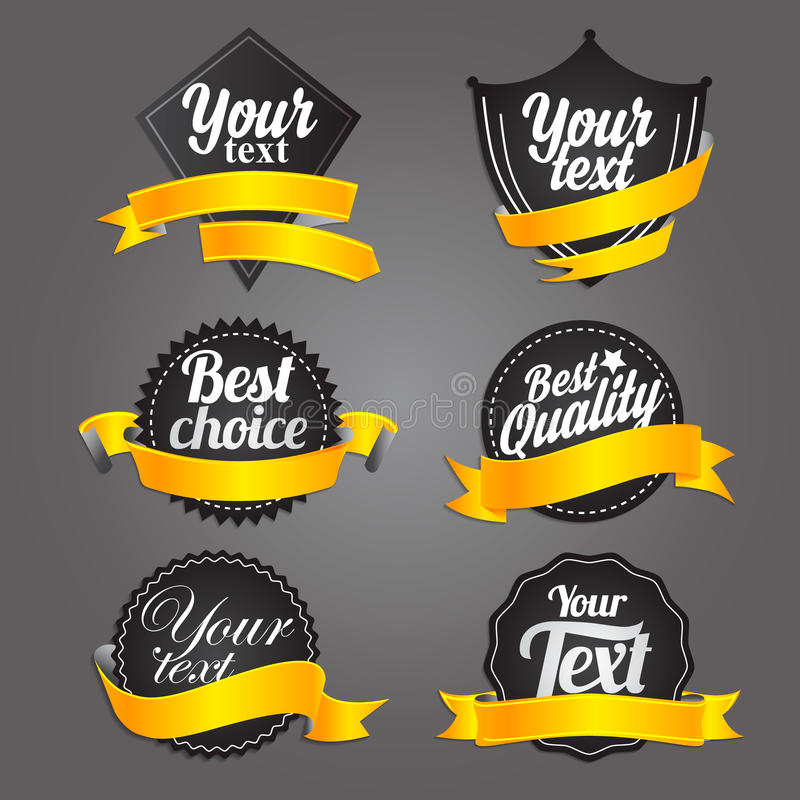 Black labels with ribbons. stock images