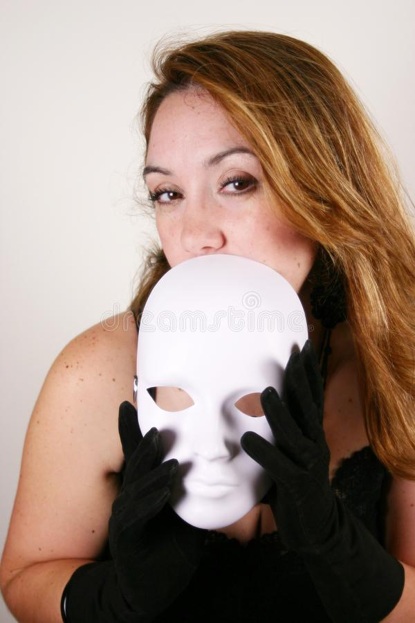 Black Lace and Blank White Mask stock images