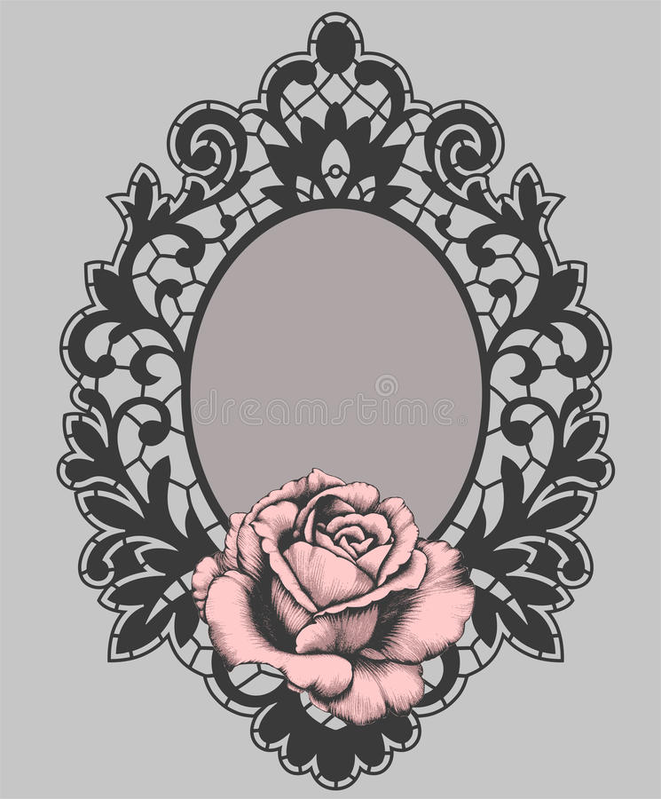 Black Oval Vintage Lace Frame Gray Background
