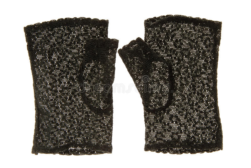 Black lace gloves. stock photography