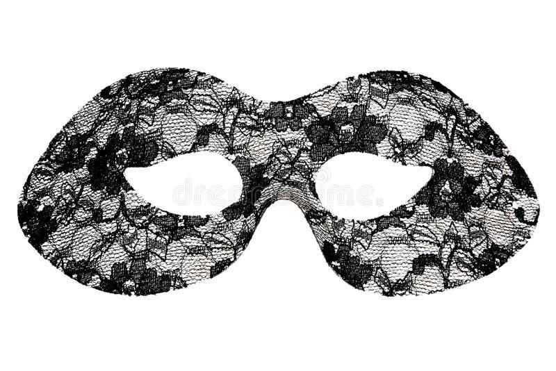 Black lace masquerade mask. Isolated on white background stock image