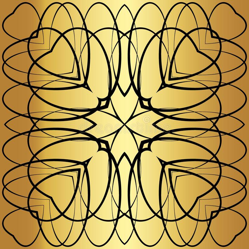 Black lace pattern. Black pattern, exquisite, design, abstract lines on a golden background vector illustration