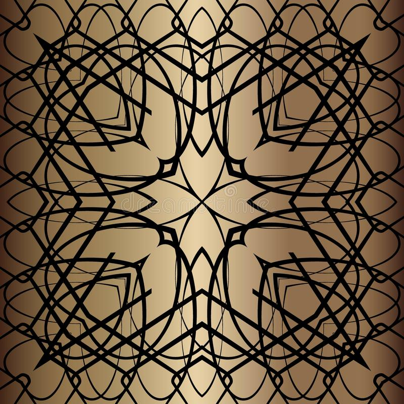 Black lace pattern. Black pattern, exquisite, design, abstract lines on a golden background stock illustration