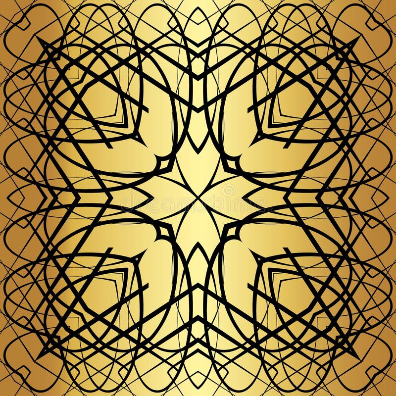 Black lace pattern. Black pattern, exquisite, design, abstract lines on a golden background royalty free illustration