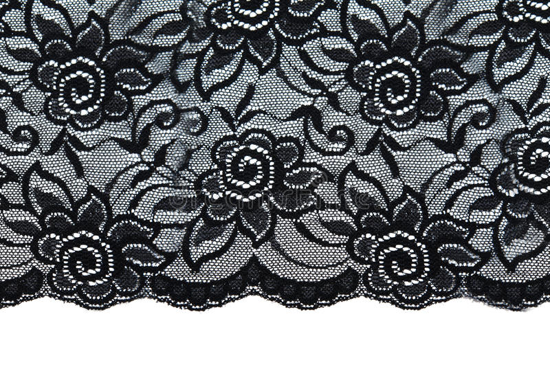Black lace with pattern with form flower. On white background stock images