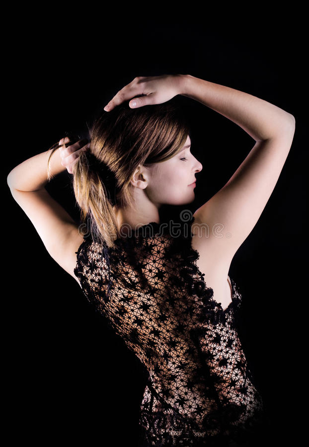 Black lacy jacket on naked spine royalty free stock photo