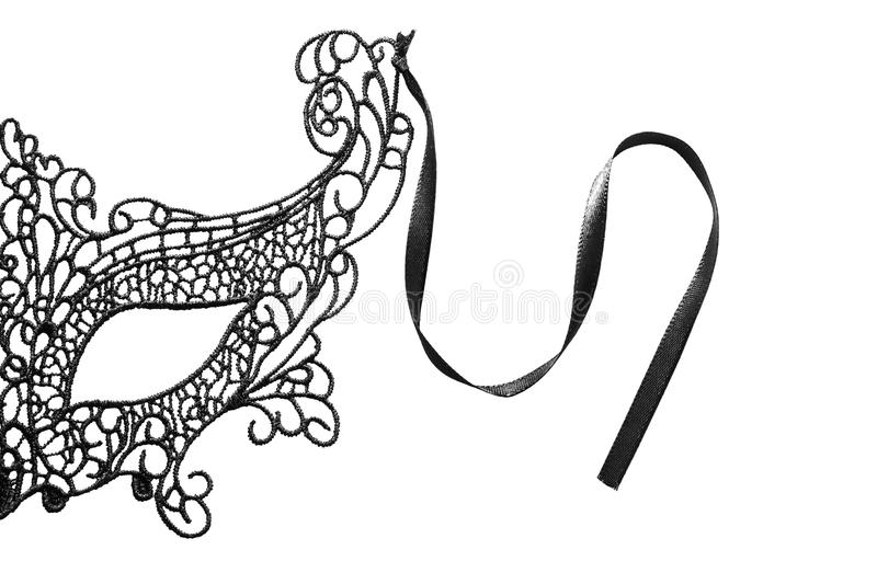 Black lacy mask. Half of black lacy mask isolated over white royalty free stock image