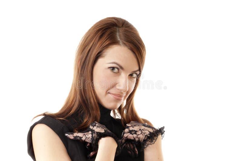 black lacy ståendekvinnor för handskar royaltyfri fotografi