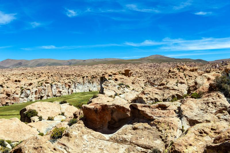 View of the Canyon of Laguna Negra and rocky landscape of the Bolivian plateau, Bolivia, South America. Black lagoon Laguna Negra, Bolivia : Colourful and royalty free stock images