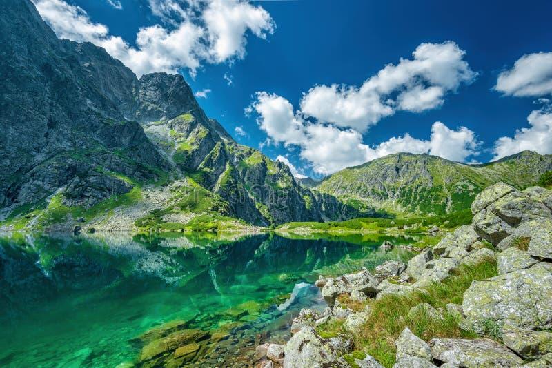 Black lake under Rysy peak, Tatra Mountains. Poland stock photos