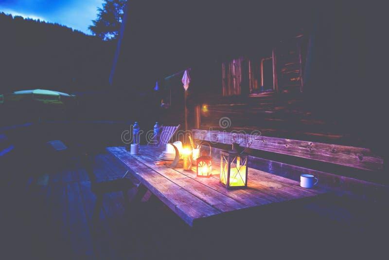 Black Lantern On Brown Wooden Table Under Blue Sky Free Public Domain Cc0 Image