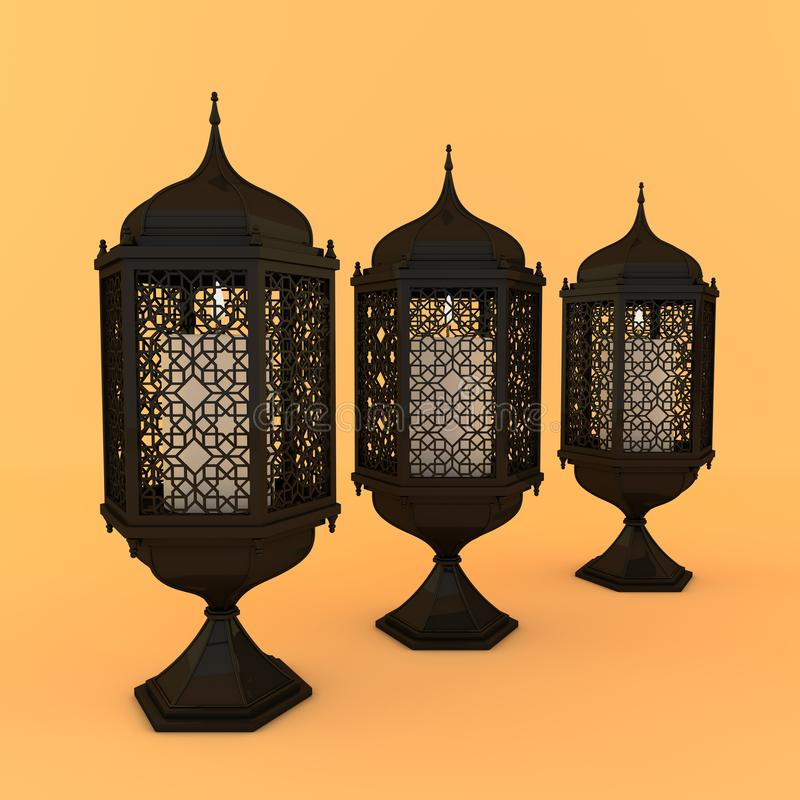 Black lantern with candle, lamp with arabic decoration, arabesque design. Concept for islamic celebration day ramadan kareem or royalty free illustration