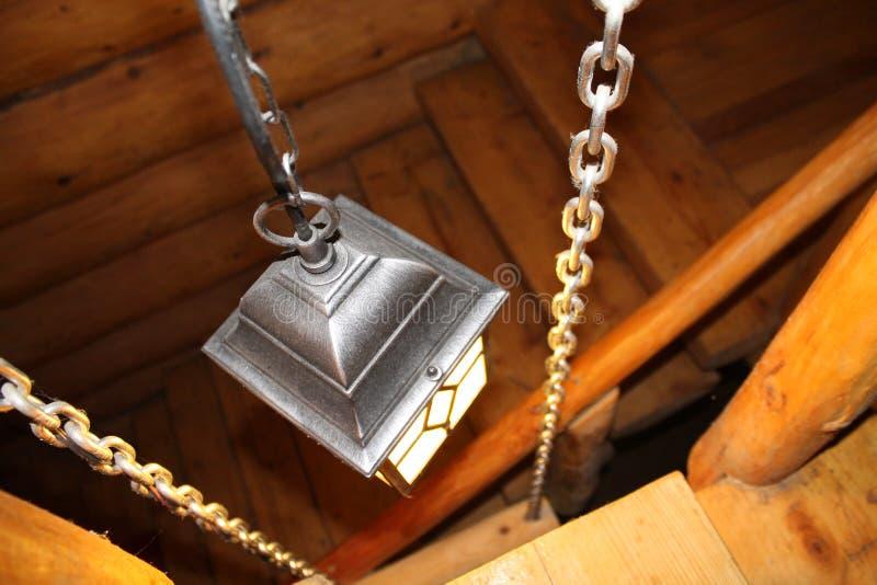 Black lantern lights wooden stairs royalty free stock photos