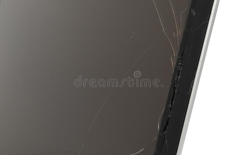 Black laptop with broken screen isolated on white background. Computer, technology, monitor, service, communication, equipment, modern, work, accident, display stock image