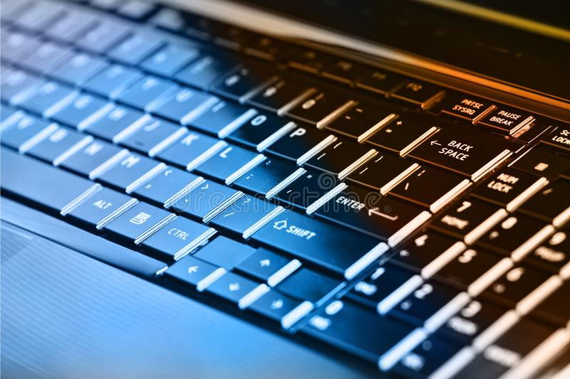 Black laptop keyboard. Black laptop keyboard with shallow depth of field royalty free stock photography