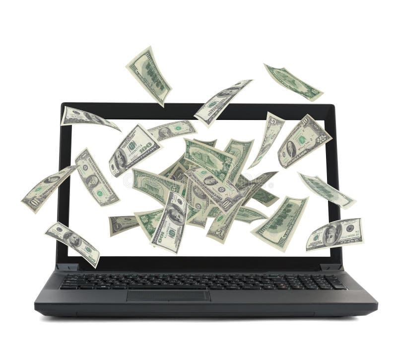 Black laptop with money flow stock illustration