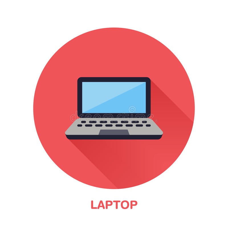 Black laptop notebook with blank screen flat style icon. Wireless technology, portable computer sign. Vector royalty free illustration