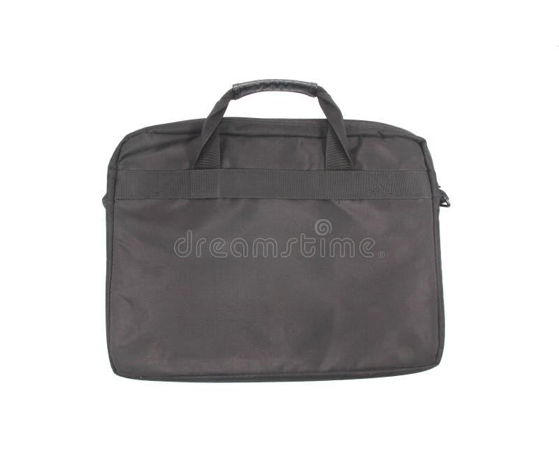 Black laptop notebook computer case on plain background stock image