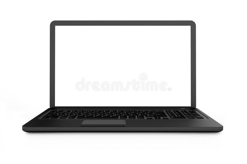 Download Black Laptop With White Screen Stock Illustration - Image: 34955274